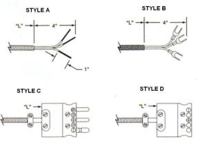 termination styles - thermocouples
